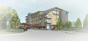A graphical rendering of the Comfort Inn, currently under construction in Campbell River