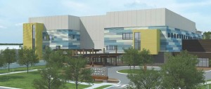 A design drawing of the new 95-bed Campbell River Hospital.