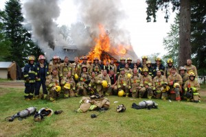 City of Courtenay fire fighters and training partners during a training exercise.