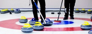 Curling rocks on the ice at the Comox Valley Curling Club in Courtenay.