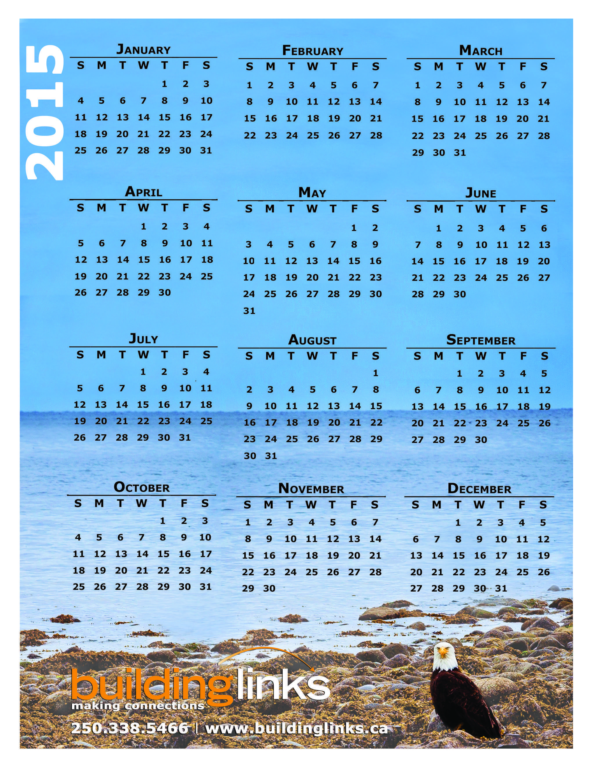 The Building Links 2015 Year at a Glance calendar.