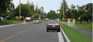 An rendition of possible road improvements to 2nd Street in Courtenay, looking east to Cliffe Avenue.