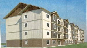 A preliminary drawing of one of two new apartment complexes in Courtenay.