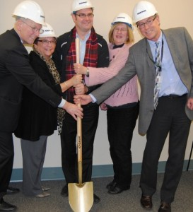 Pictured at a Friday ceremony at St. Joseph's General Hospital, from left: Island Health board chair Don Hubbard, Comox Valley Hospice Society president Audrey Craig, Comox Valley MLA Don McRae, Marion Lade of the St. Joseph's Hospital Foundation and hospital board chair Chris Kelsey.— Image Credit: Scott Stanfield
