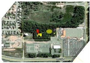 This aerial image shows the location and proposed structure of the East Courtenay Fire Hall.