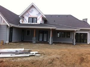 The new show home by Homes by Crown Isle is under construction on Malahat Drive.