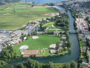 Altiveris Group of Companies has proposed retirement residences along the Courtenay River on Anderton Avenue. This aerial photo shows the length of the Courtenay River, with the Home Hardware on the right past the bridge.