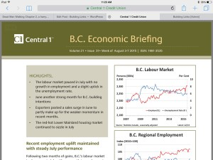 The Central 1 Credit Union has released its economic brief for the province of British Columbia for the month of August.