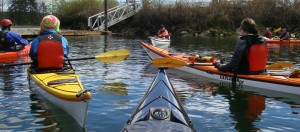 Kayakers get ready to paddle on the estuary at the mouth of the Puntledge River in Courtenay on Vancouver Island.