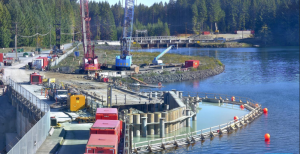This photo provided by BC Hydro shows work on the cofferdam at the John Hart Dam Generating Station replacement project. Work on the sealing chambers is expected to be complete in December.