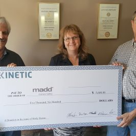 Kinetic Construction Donates $5,600 to Comox Valley Chapter of Mothers Against Drunk Driving
