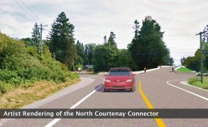 This artist rendering shows what the North Courtenay Connector may look like when it is complete. A tender for this project is expected in September.