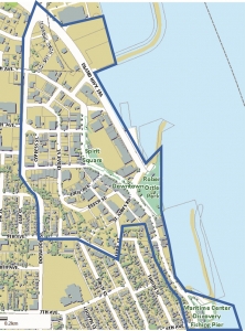 The following map shows the downtown area being considered for the Refresh Downtown Project. The aim of the design work is to create attractive streets that function well for traffic, parking, drainage, and underground infrastructure, and that are also attractive people places.