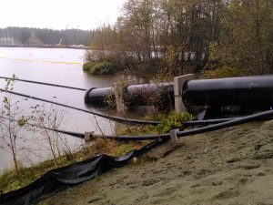 In October, the north system water supply main for the city of Campbell River's new water supply system was floated out into the lake. Eventually it will be lowered to the bottom of the lake.