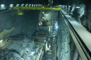 This photo shows construction work in the Powerhouse cavern at the site of the John Hart Dam Generating Station Replacement Project.
