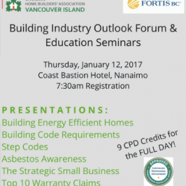 Building Industry Outlook Forum and Educational Seminar Series coming to Nanaimo Jan. 12