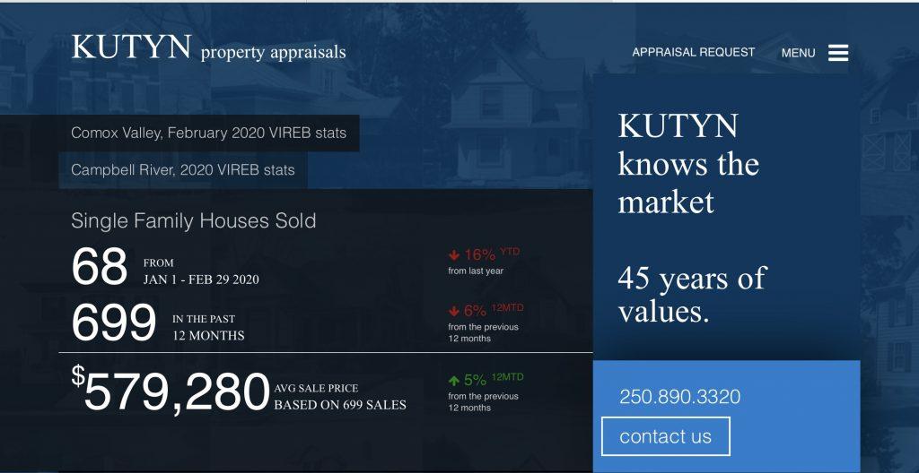 Screen Shot Kutyn Property Services website.